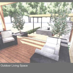 Looking between shrubs in planters from porch seating to lower deck lounge.
