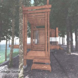 Side steps to sauna deck with overhead pergola.