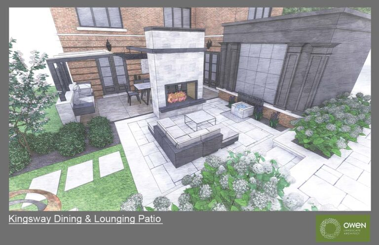 Courtyard space with tall freestanding 2-way fireplace dividing lounge patio from outdoor kitchen and dining area.