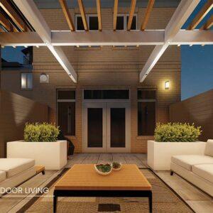 3D rendering of deck lounge in evening.