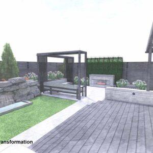 Backyard armour stone waterfall opposite walkout deck.
