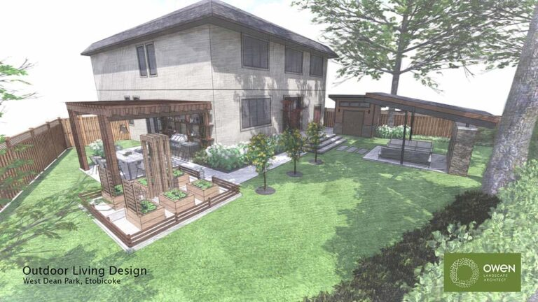 Side yard dining pergola sits alongside enclosed vegetable garden pathway links to backyard walkout patio and pavilion.